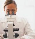 חוקרת ומיקרוסקופ